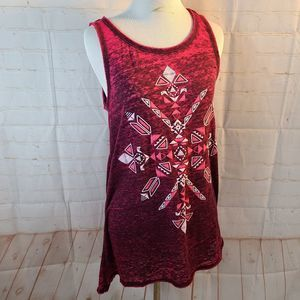 maurices maroon tank top with aztec print